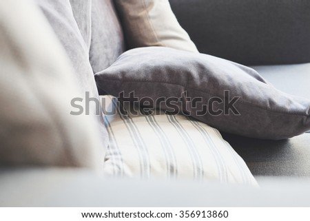 Close up of cushion on sofa