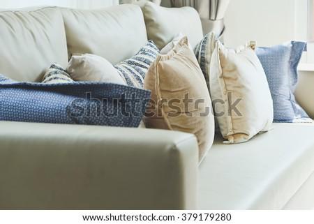 Close up of cushion on sofa background  - stock photo