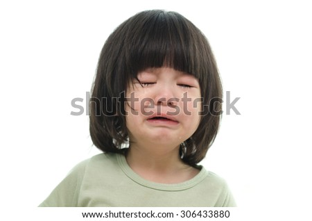Close up of cute asian baby crying on white background isolated - stock photo