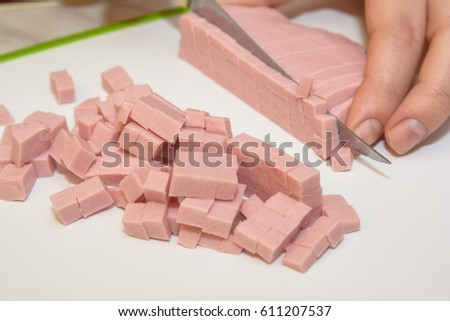 Close up of cutting Bologna Sausage