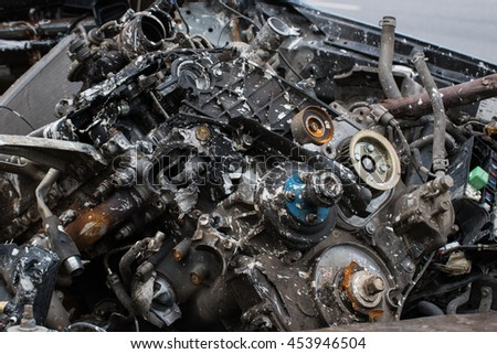 Close up of damaged  engine car - stock photo