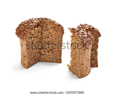 close up of  dark bread on white background with clipping path - stock photo