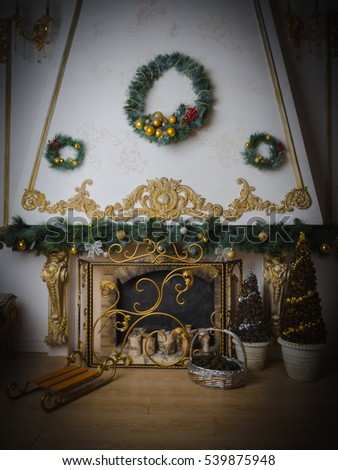 close up of decorated Christmas fireplace
