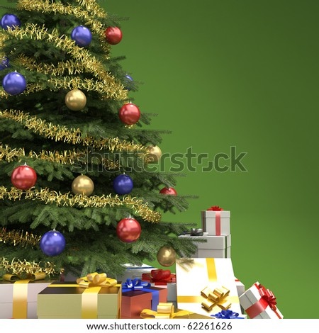 close up of decorated christmas tree with many presents on green background with copy space on right