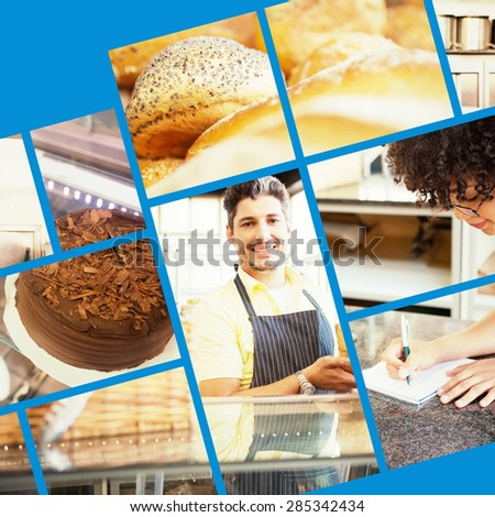 Close up of delicious breads freshly baked against display case with chocolate cakes - stock photo