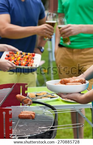 Close up of delicious food putting on grill