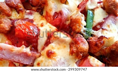 close up of delicious italian pizza food background