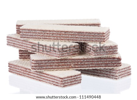 Close-up of delicious wafers isolated on white background