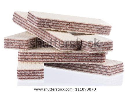 Close-up of delicious wafers isolated on white background - stock photo