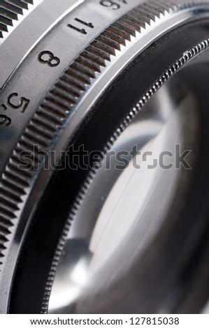 Close up of detail  Vintage camera. - stock photo