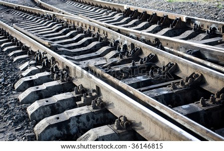 Close-up of details of railway tracks - stock photo