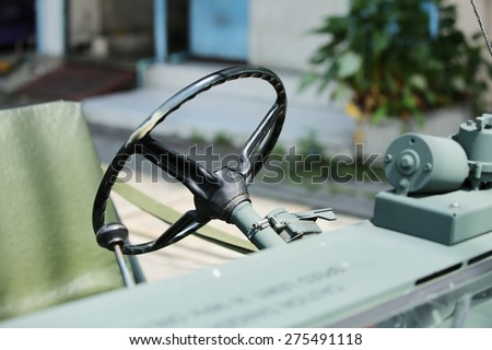 Close-up of details of vintage Cars - stock photo