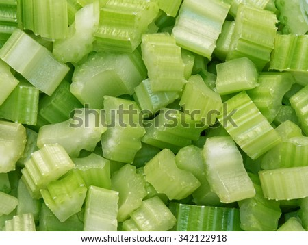 close up of diced cut celery food background - stock photo
