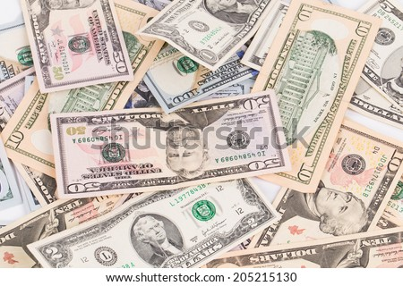 Close up of different dollar bills. Whole background. - stock photo