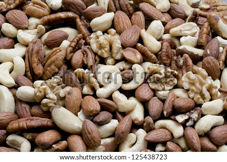 Close-up of different kinds of peeled nuts