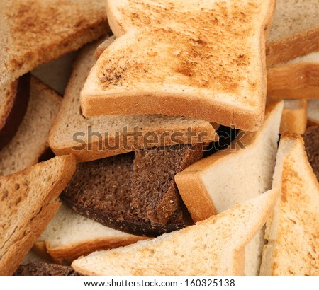 Close up of different sliced bread. Whole background - stock photo