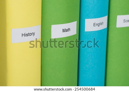 Close-up Of Different Subject Multicolored Books  - stock photo