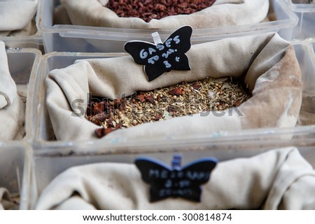 close-up of different types of Assorted Spices - stock photo