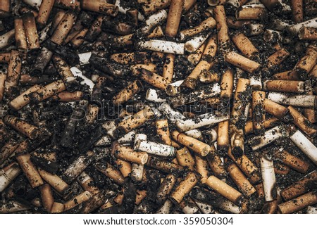 close up of dirty cigarettes - stock photo