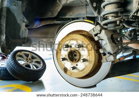 Close up of disk brake on car in process of damaged.- Brake job  - stock photo