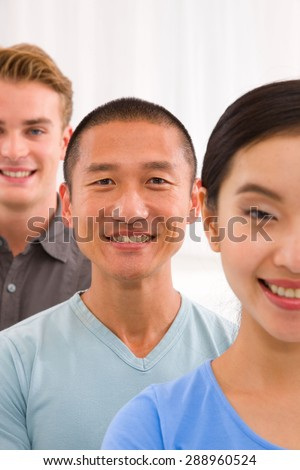 Close-up of diverse young people - stock photo