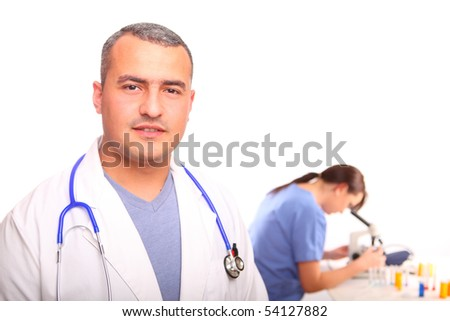 Close up of Doctor with Female Nurse - stock photo