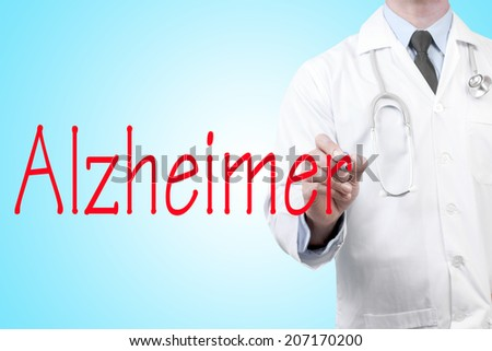 close up of doctor writing word Alzheimer on screen glass with marker pen - stock photo
