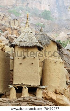 Close up of Dogon granaries at the base of the Bandiagara escarpment in Mali - stock photo