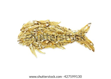 Close up of dried fish isolated on white background - stock photo