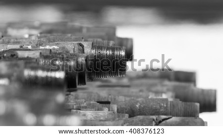 close up of drill pipe - oilfield - black and white