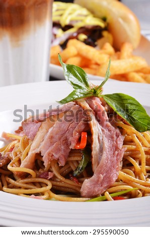 Close up of duck breast pasta - stock photo