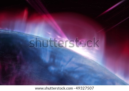 close up of earth with stars in background - stock photo