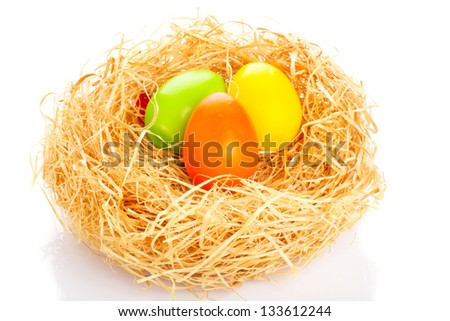 Close up of Easter eggs in bird nest