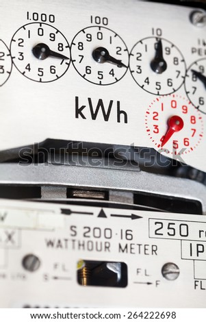Close-up of electric meter, showing dials and kWh symbol. - stock photo