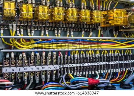 stock photo close up of electrical panel with cables 614838947 electrical panel stock images, royalty free images & vectors electrical panel wiring at nearapp.co