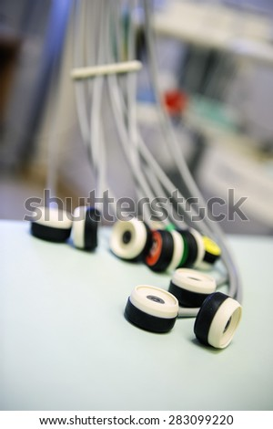 Close-up of electrocardiographic sensors