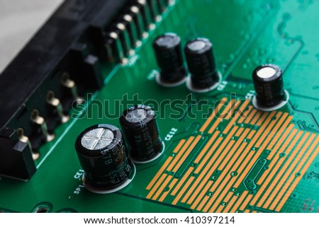 Close up of electronic circuit board macro - stock photo