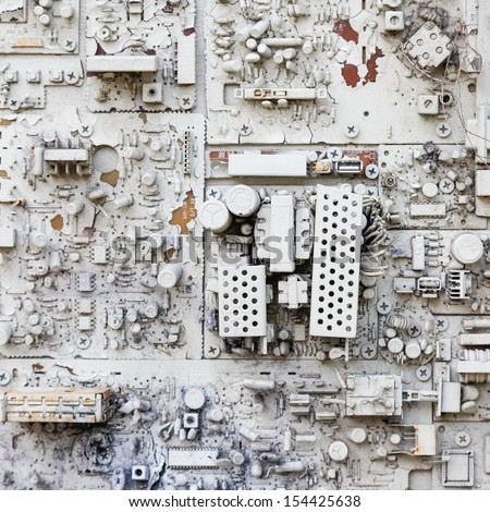 close-up of electronic circuit board with processor with white painted - stock photo