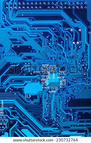 Close Up of electronic circuit board without processor - stock photo