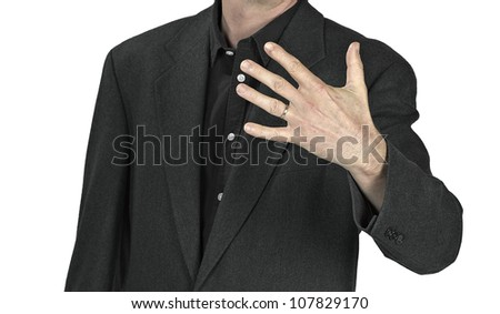 Close-up of elegance man hands with ring - stock photo