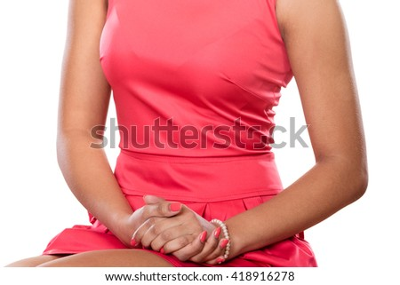 Close up of elegant fashionable woman wearing red dress. Fashion.