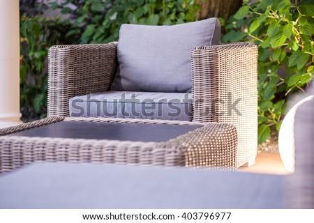 close up of elegant rattan garden furniture