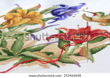 Close Up of Embroidery Needle and Thread with Needle Point in the Background - stock photo