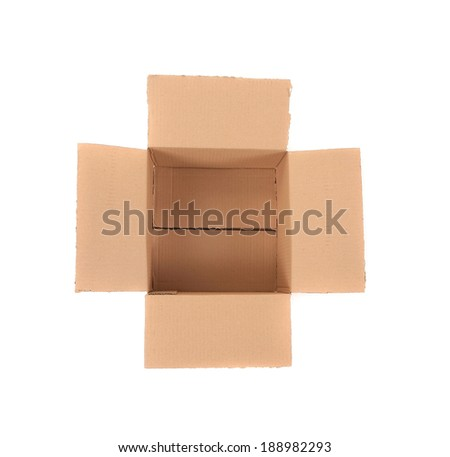 Close up of empty box. Isolated on a white background.
