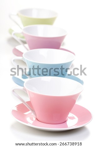 Close up of empty cups i row - stock photo