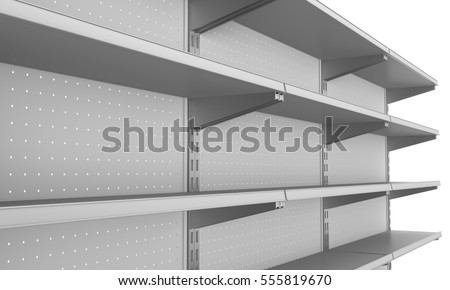 Close-up of empty shelves in perspective. 3D rendering