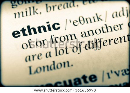Close up of English dictionary page with word ethnic - stock photo