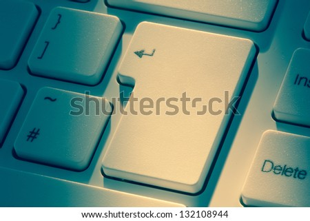 Close up of enter key on keyboard - stock photo