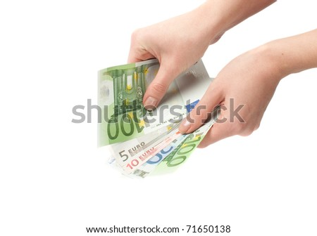 Close-up of Euro banknote in woman's hand