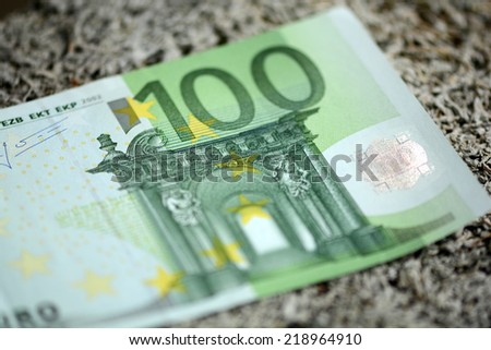 Close up of european hundred euros - 100 - stock photo